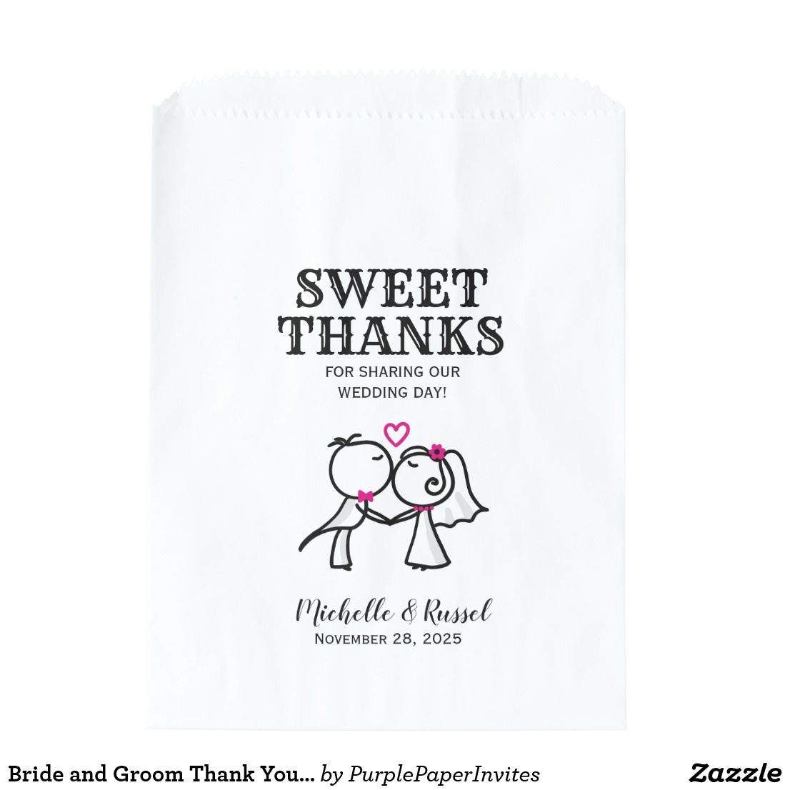 Bride and Groom Thank You Wedding Favor Candy Bag | Weddings ...