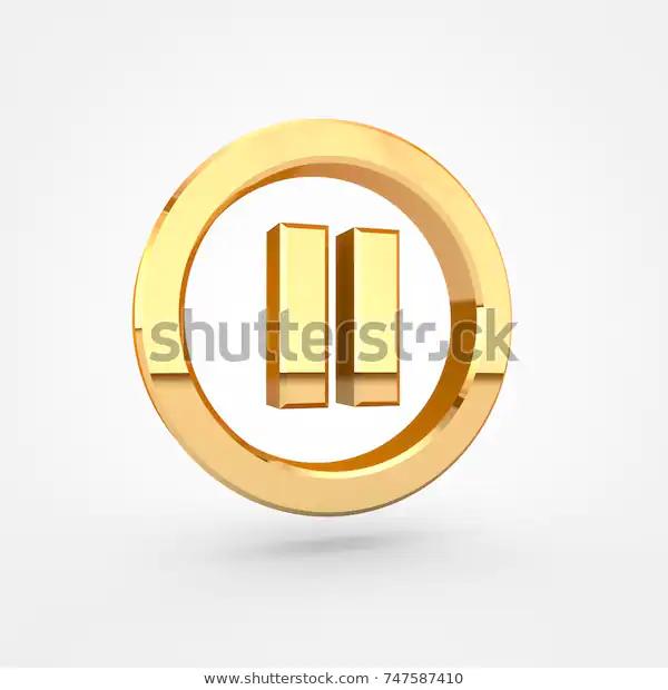 Pause Button 3d Render Golden Button Stock Illustration 747587410 Stock Illustration Golden Buttons Image Illustration