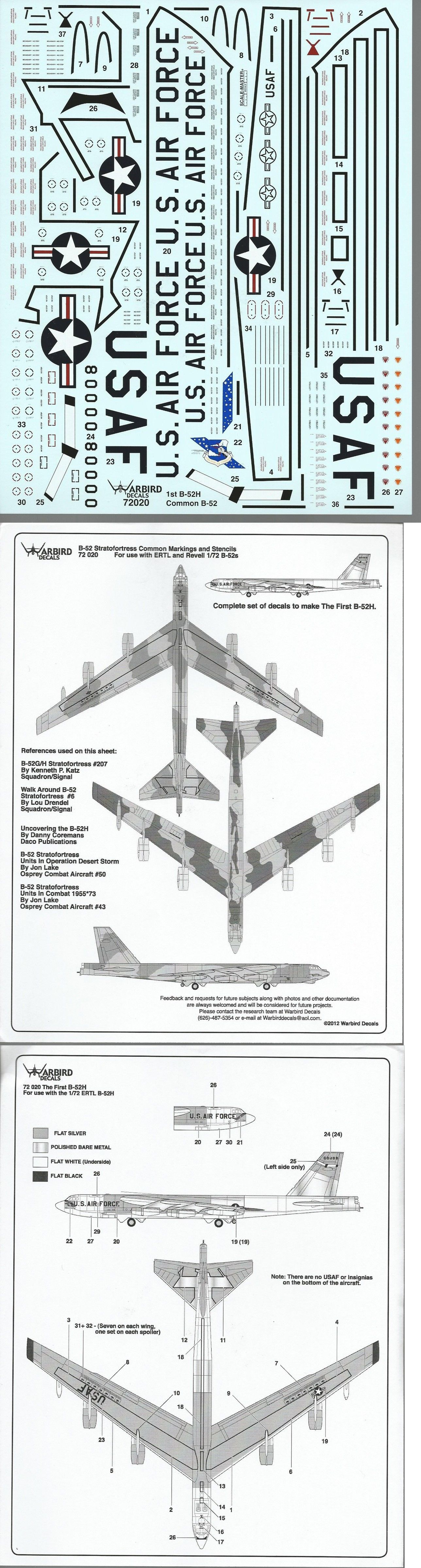 Warbird B 52 Stratofortress Walkway Stencil Common Marking Decals 1 72 020 B 52 Stratofortress Warbirds Stencils