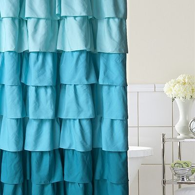 Home Classics® Ruffle Ombre Fabric Shower Curtain | Ombre fabric ...