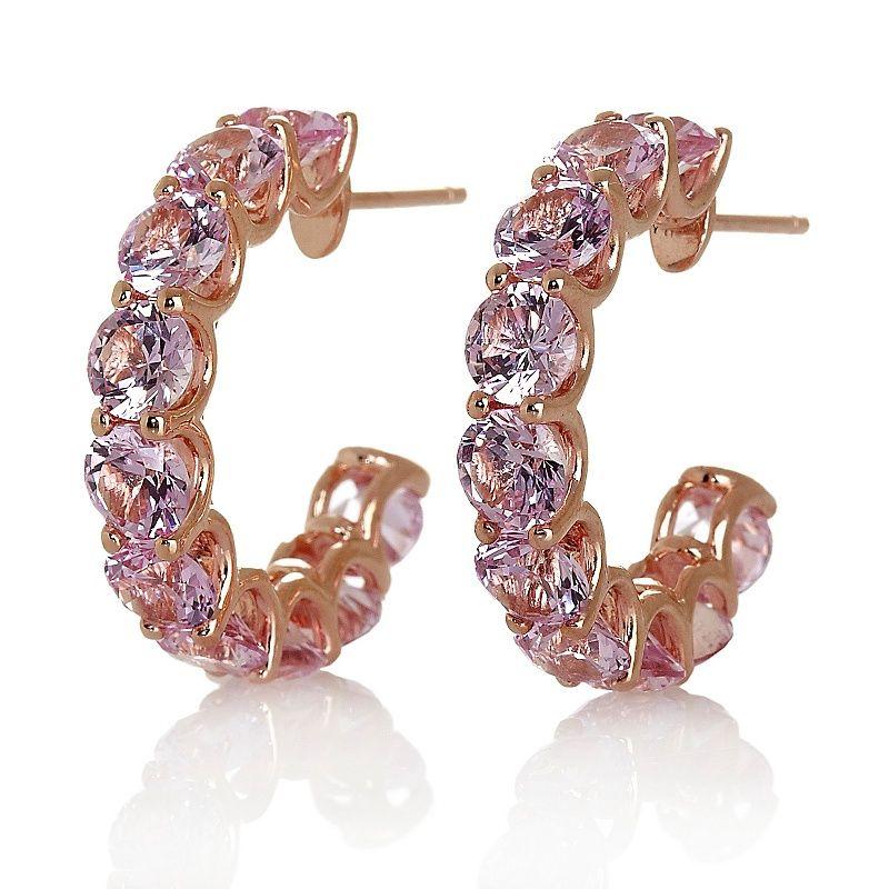 Daniel K Created Pink Sapphire Uternity Hoop Earrings
