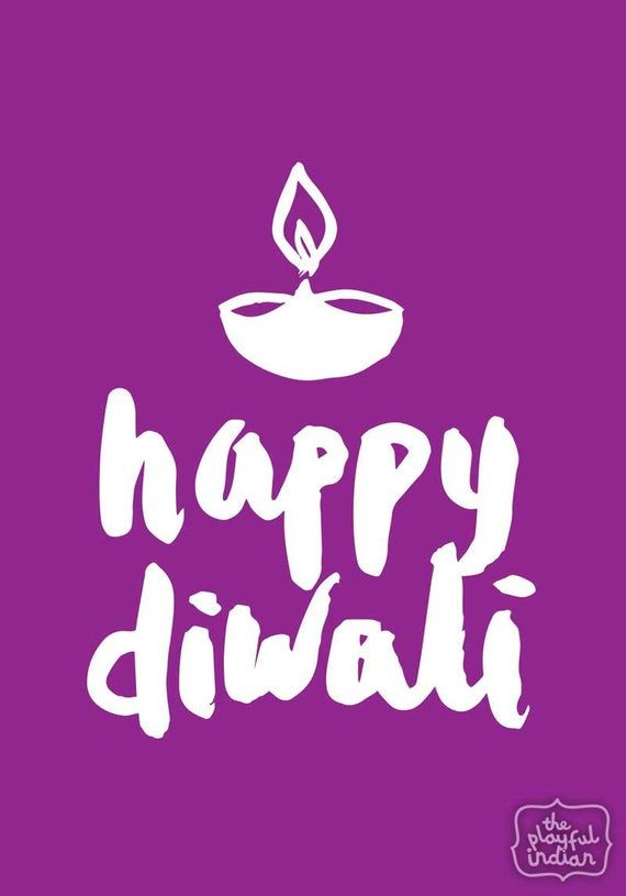 Happy Diwali Greeting Card - Purple