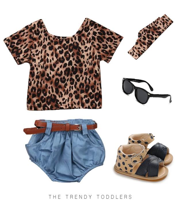 Baby Girl Leopard Denim Look