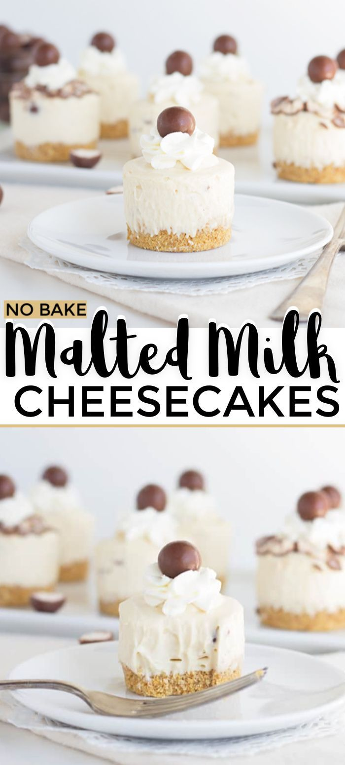 Malted Milk No Bake Cheesecakes - These mini cheesecakes are packed full of malted milk flavor. They have a thick graham cracker crust and a malted milk cheesecake mousse, and are topped with a malted milk ball.