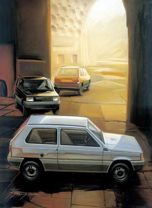 1980 Fiat Panda - Giorgetto Giugiaro. So many geometric lines. It's not necessarily a pretty car, but it's handsome in its own right.