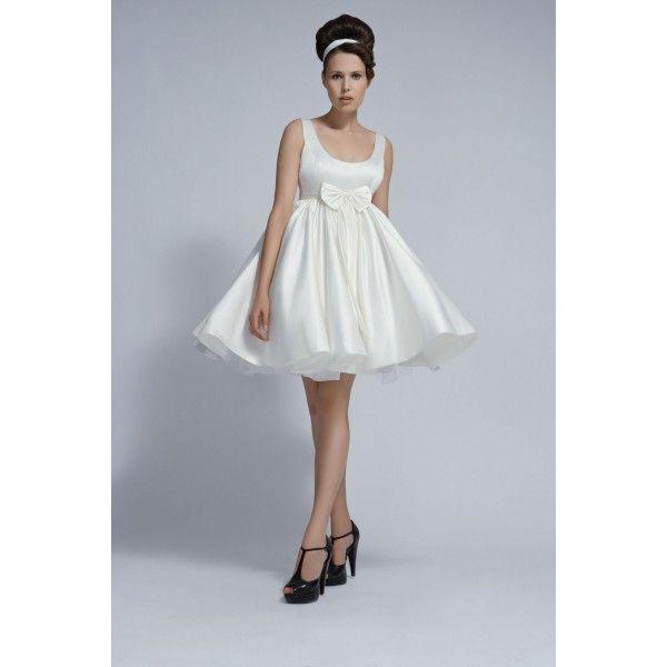 Sleeveless Baby Doll Short Wedding Dress With Full Skirt And Bow ...
