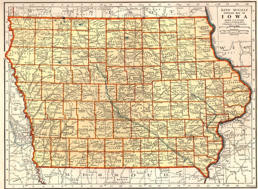 Ia State Us Map - Vintage iowa map