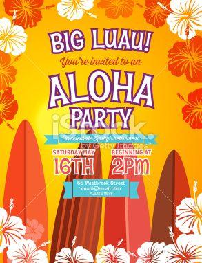 Aloha hawaiian luau party vertical invitation with hibiscus aloha hawaiian luau party vertical invitation with hibiscus flowers stopboris Gallery