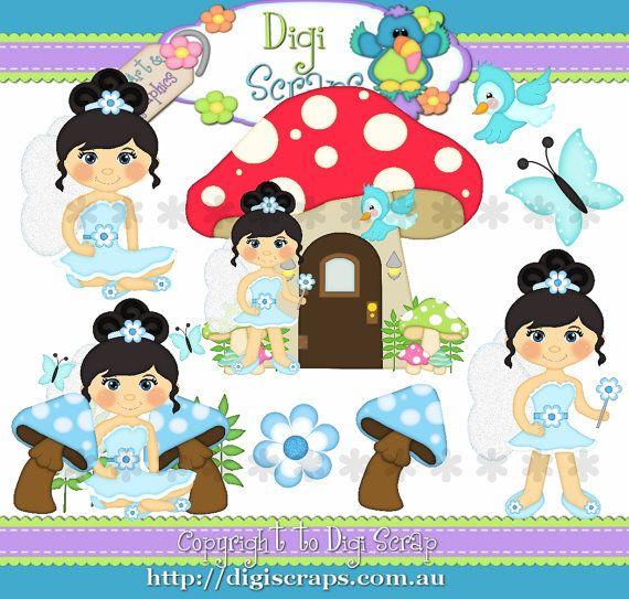 Pixie Fun Black Hair Digital Clip Art Set  Clipart by Digiscrapsau, $2.00