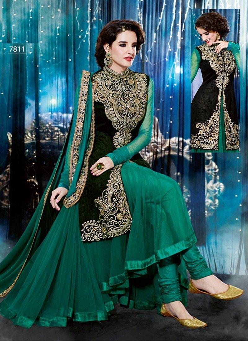 d879a8f278 Royal Touch Green Salwar Suits, Sharara Suit, Shalwar Kameez, Churidar,  Punjabi Suits