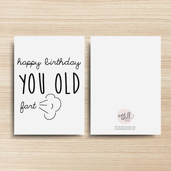 photo relating to Printable Greeting Card Stock named Content Birthday Your self Outdated Fart PRINTABLE Greeting Card, 5x7
