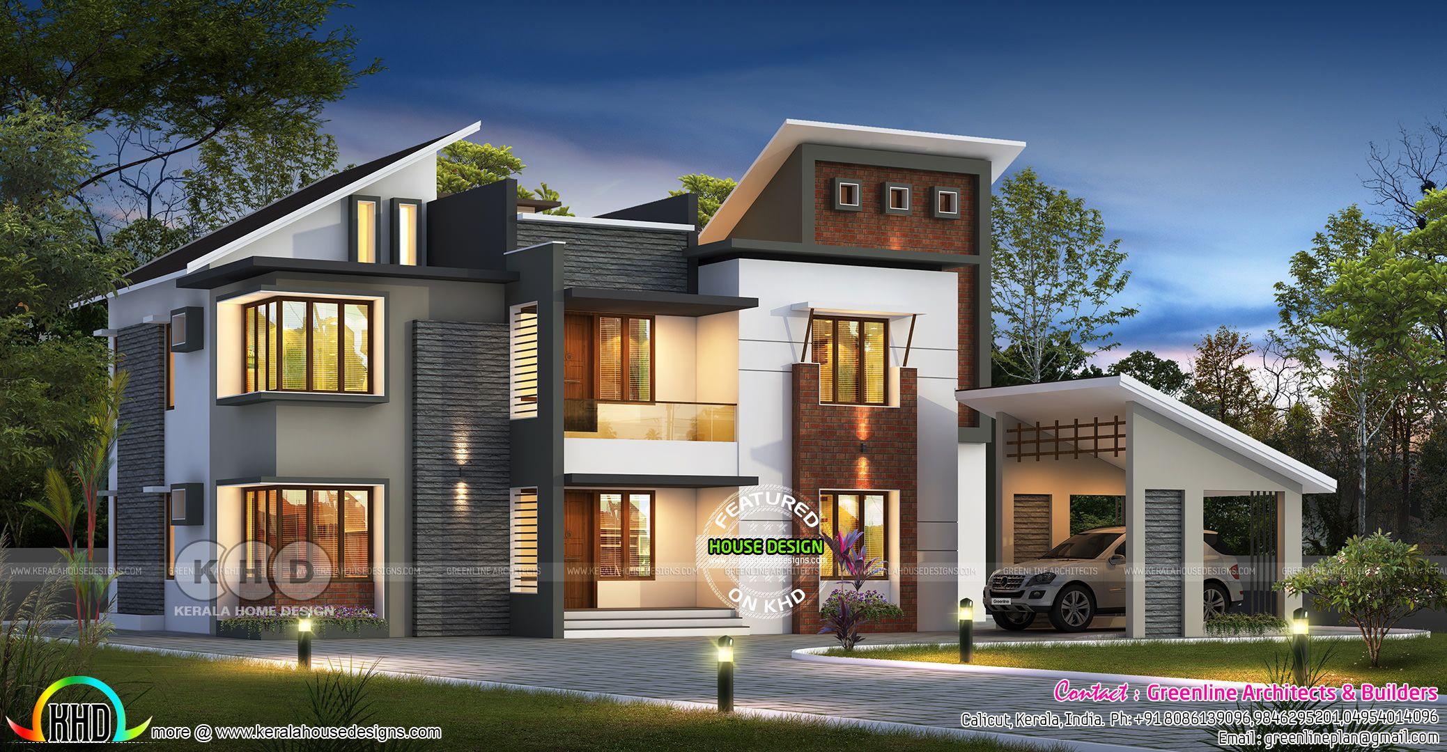 4150 Sq Ft 5 Bedroom Ultra Modern Style Home Kerala House Design House Front Design Ultra Modern Homes