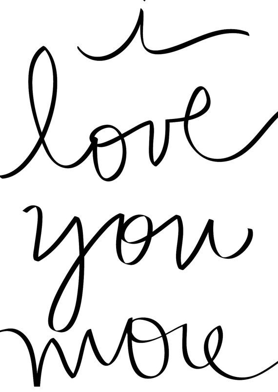 Printable Valentine - DIY - Handwritten Valentine's Day Card - Instant Download - I love you more- Digital File by DESIGNXFIVE, $2.55