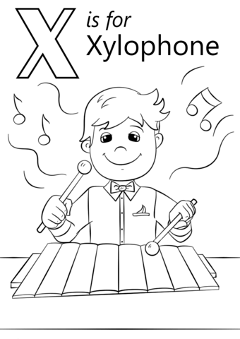Letter X Is For Xylophone Coloring Page From Letter X Category Select From 26388 Printable Alphabet Coloring Pages Alphabet Coloring Preschool Coloring Pages