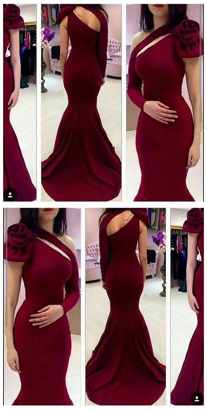 Burgundy one shoulder long sleeve mermaid long prom dress wg