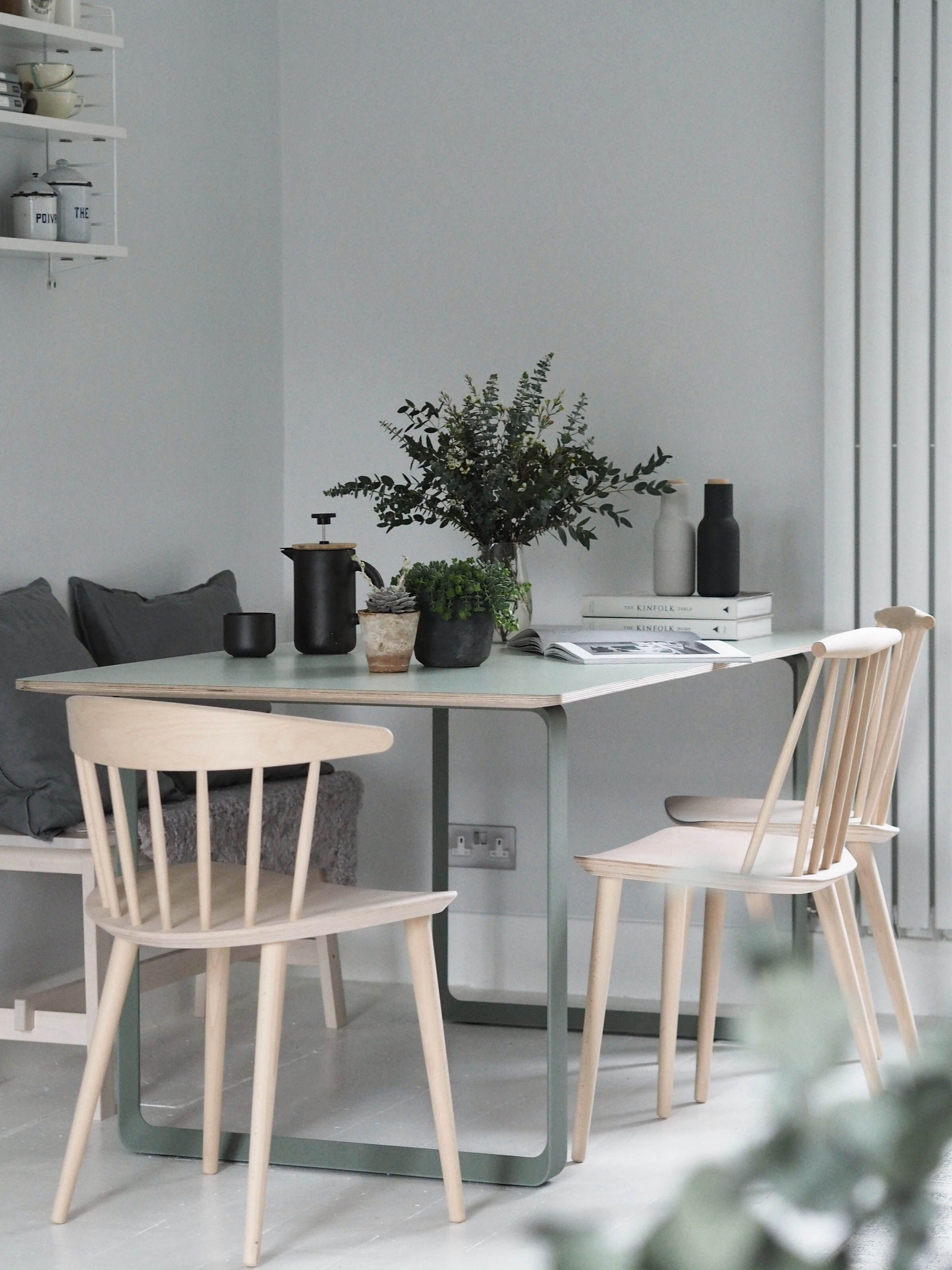 muuto 70 70 table in green modern scandinavian design dining table plants in the home
