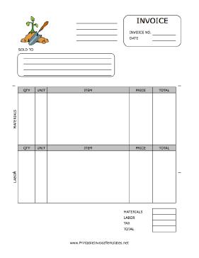 Gardening Invoice Template Printable Invoice Invoice Template Invoice Template Word