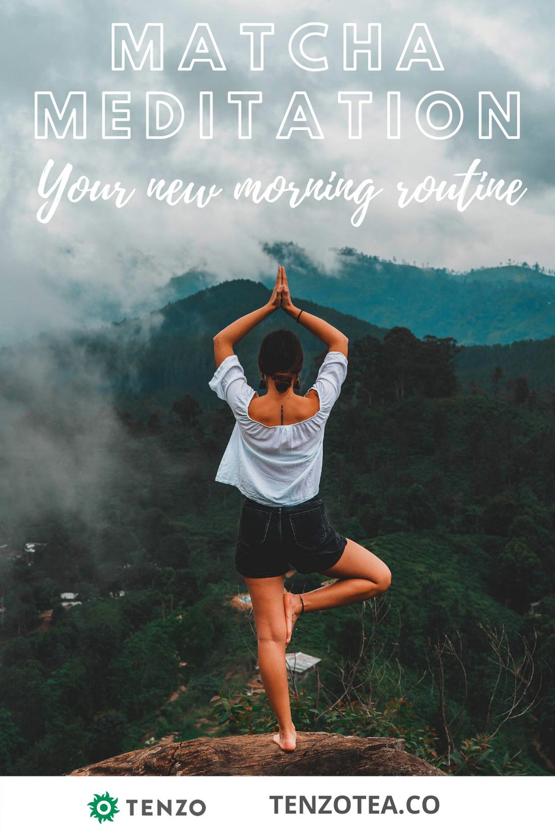 Matcha green tea for a meditative focused morning routine. Everyone is switching! Learn more. | morning yoga routine for energy #matcha #matchalatte #matchaaddict #greentea #latte #iceddrinks #energy #energydrink #health #healthymoms #fitmoms #fitness #energy #focus #workout #yoga #zen #fitmoms #veganmom #vegan #superfood #adaptogens #yummydrinks #workingmom #stayathomemom #meditation #mindfulness #plantbased #healthydrinks #caffeine #coffeesubstitute