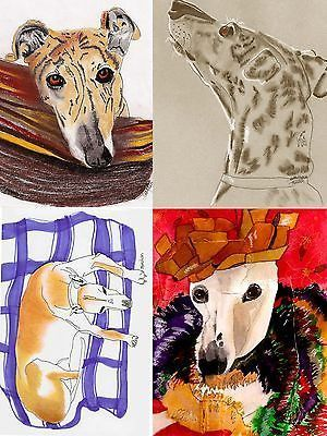 2 Greyhound Dog Art Note Cards Set of 4 w//envs Whippet