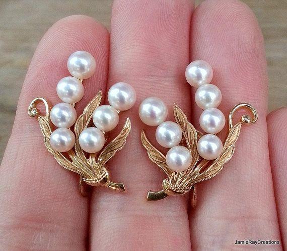 Vintage Mikimoto 14k Gold Akoya Pearl Back Earrings Fine Cultured Earring