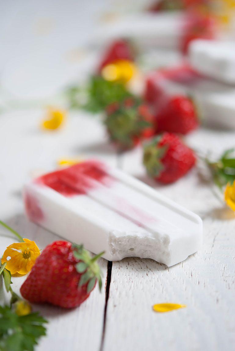 Kokos Popsicles Mit Gerosteten Beeren Receta Helados Sabroso