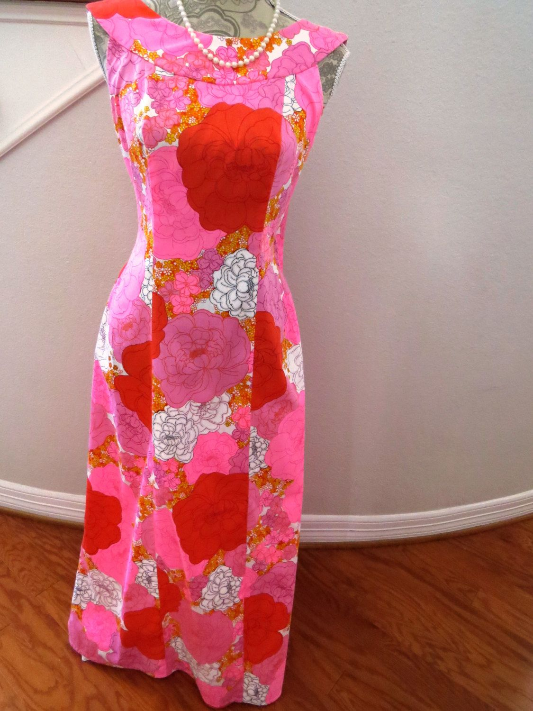 Vintage Long Hawaiian Aloha Dress Muumuu by Alice Polynesian ...