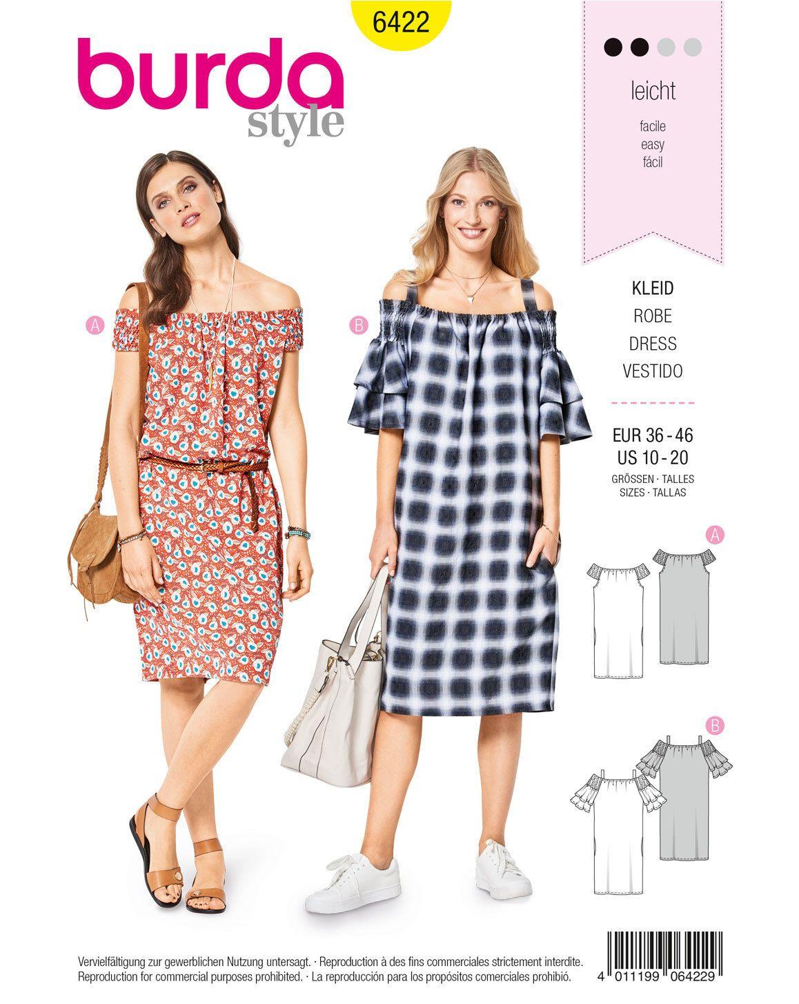 Hänger-Kleid F/S 2018 #6422B   legere Kleider, Burda style und Schlicht