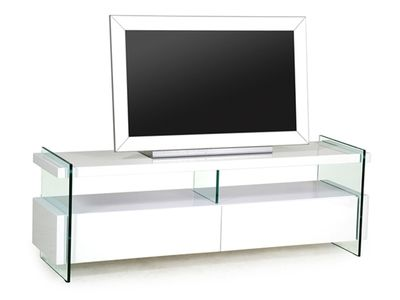 Meuble Tv En Blanc Laque Et Verre Trempe Spekia Salle A Manger