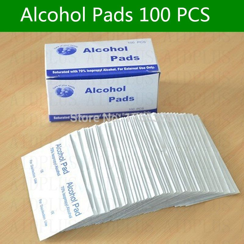 휴대용 유용한 100 개 알코올 면봉 패드 물티슈 피부 클렌저 살균 70% 이소 프로필 처치