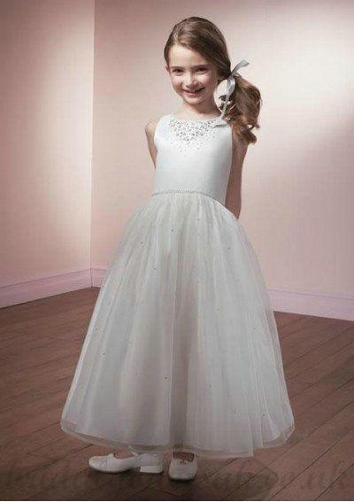 dc7341068 A Line Round Neck Knee Length Organza Flower White Girl Dress ...