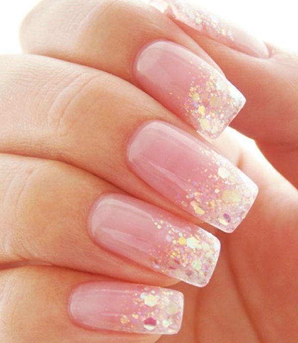 Nageldesign bilder strahlend rosa glitzernd n gel for Pinterest nageldesign