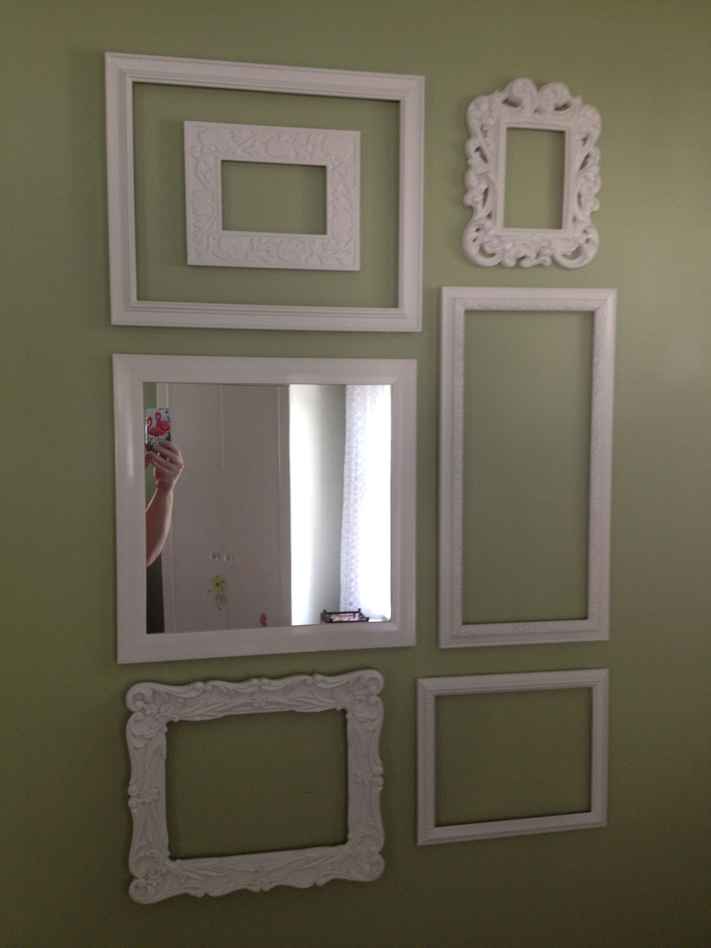 Cheap frames, a mirror, and a can of spray paint. Cheap and easy DIY ...