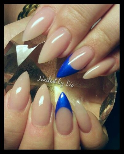 Nude Nails With Electric Blue Features Claw Nails Stiletto Nails