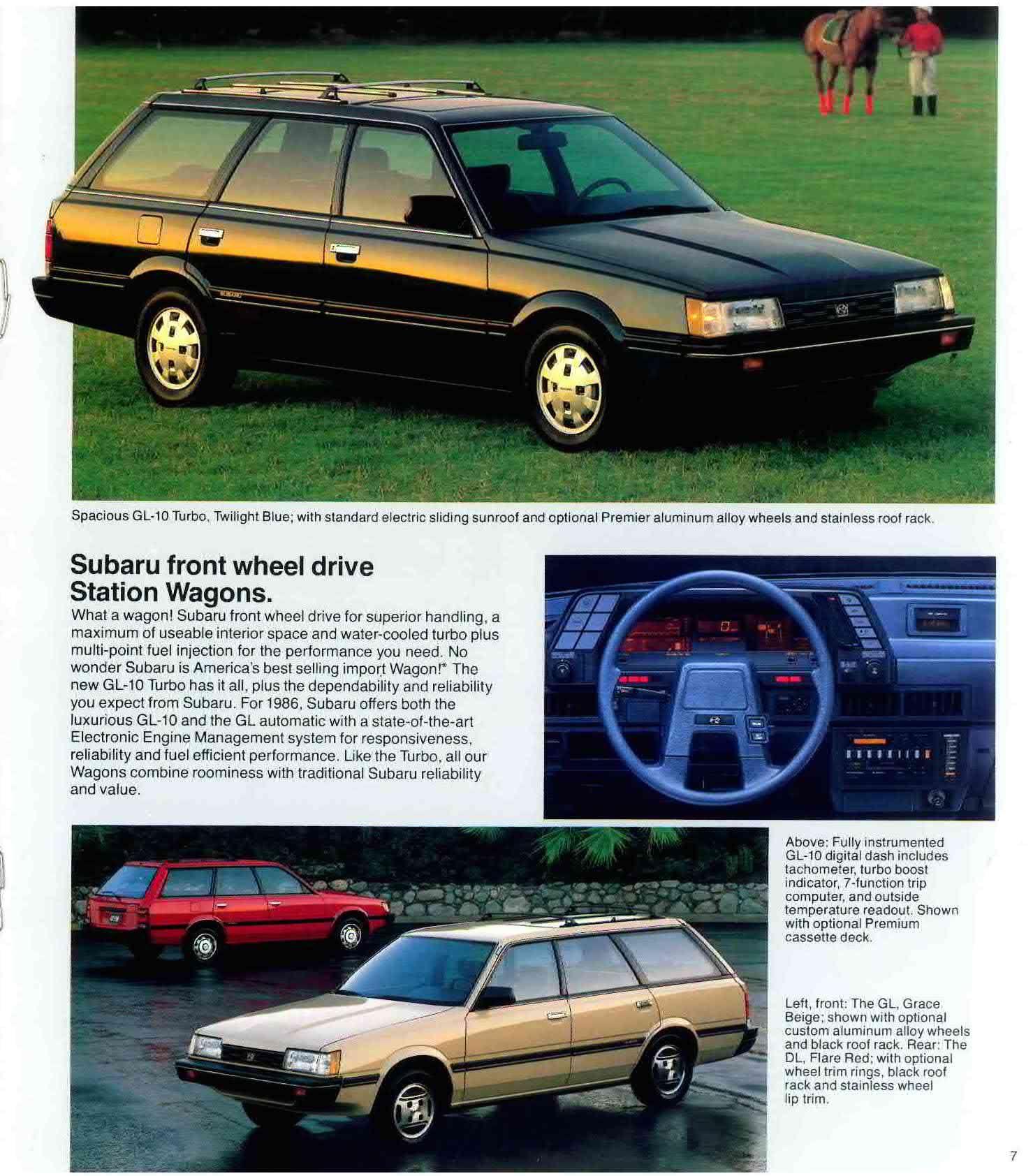 1986 Subaru Front Wheel Drive Station Wagons Look At Those H Wheels Retro Vintage Advertising Print Brochure Subaru Used Subaru Station Wagon