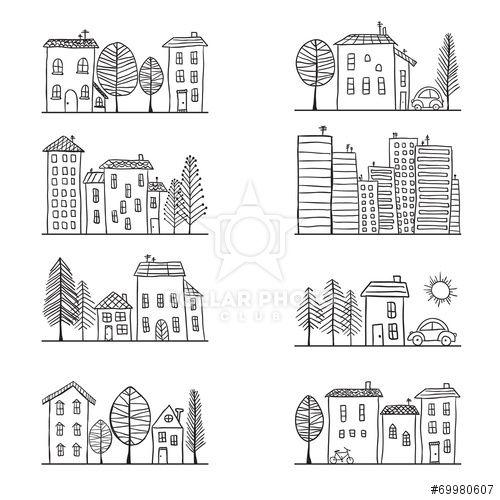 Houses Doodles 画像あり 手のスケッチ スケッチブック