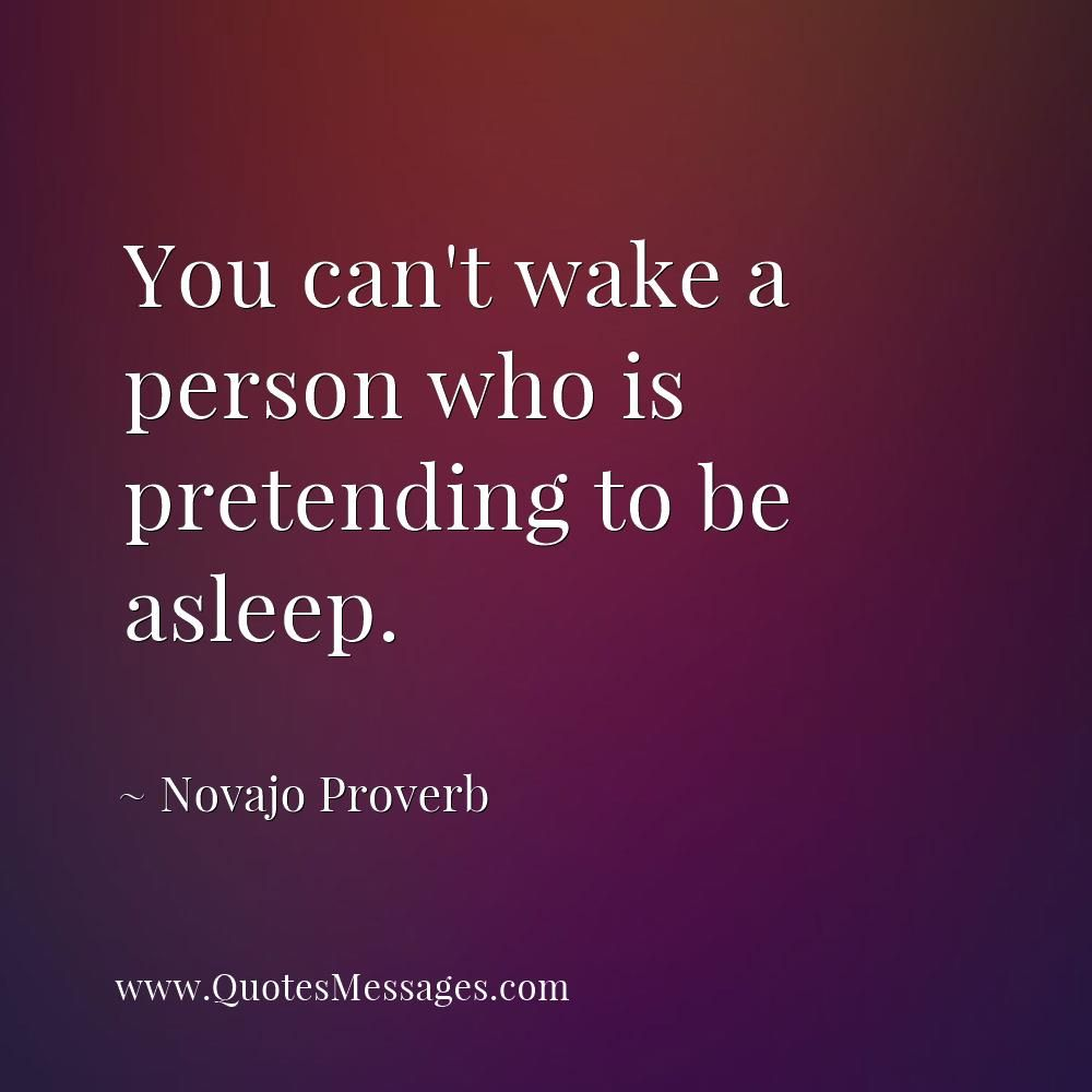 You Can T Wake A Person Who Is Pretending To Be Asleep Novajo