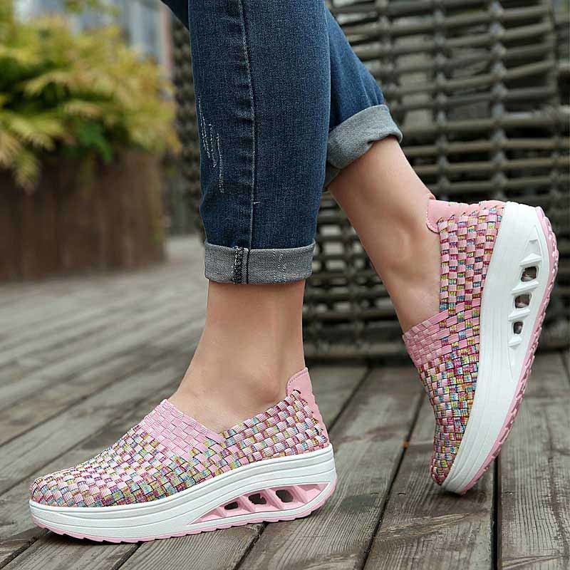 Pink Weave Check Slip On Rocker Bottom Shoe Sneaker