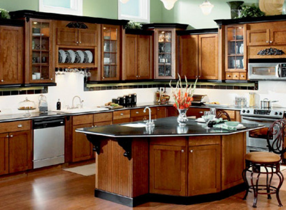 Cherry Cabinet With Black Crown | These Wooden Cabinets Have Black Painted Crown  Molding Along The
