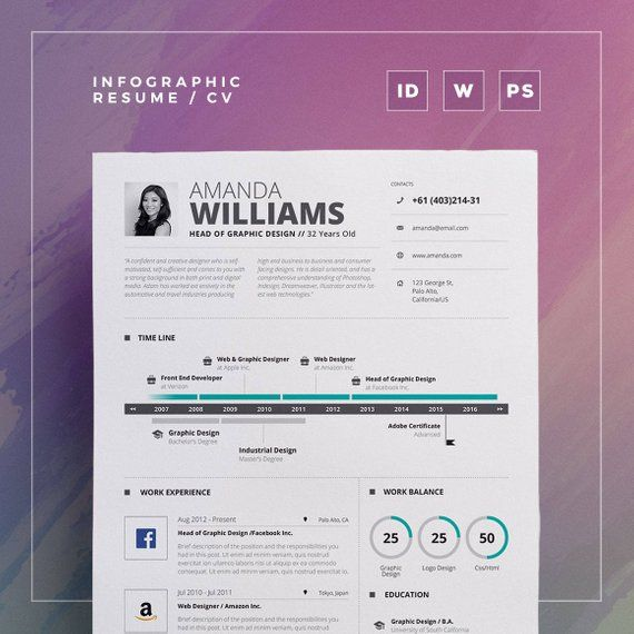 Infographic Resume/Cv Volume 5 2 Pages Word and Indesign Template - resume 5 pages
