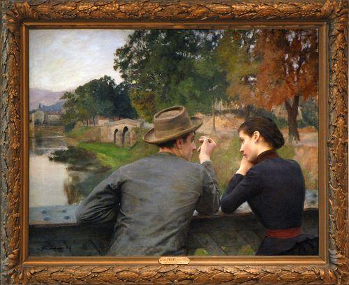 Idylle sur la passerelle, Emile Friant, 1888. Musée des beaux-arts de Nancy.