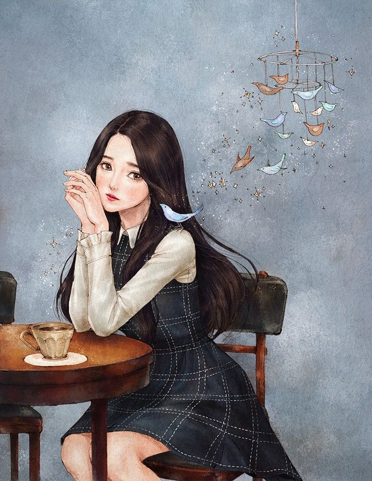 Korean girl Art girl, Anime art girl, Cool art drawings