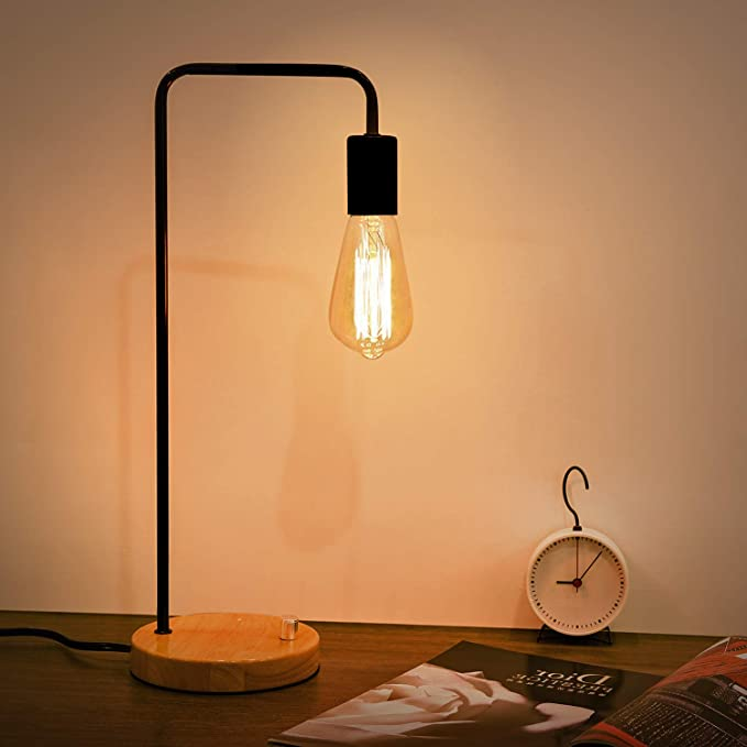 Option Desk 25 99 Kohree Industrial Table Lamp Bedside Lamp Dimmable Vintage Edison Bulb Lamp Wooden Bedside Nig In 2020 Industrial Table Lamp Desk Lamp Bedside Lamp