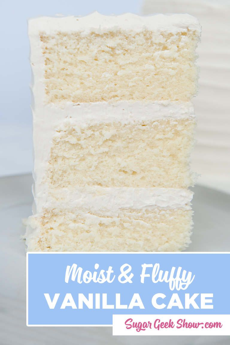 The secret to it's moist and tender crumb comes from cake flour, a touch of oil and the reverse mixing method. The reverse creaming method gives the best texture that is light and fluffy but still firm enough to stack and cover with fondant. This recipe is made easy with lots of step-by-step photos and a video tutorial. Hands down, the only vanilla cake recipe that you'll ever need!  #vanillacake #best #moist #homemade #fromscratch #tender #fluffy #vanilla #cake #sugargeekshow