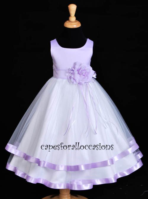 Blue and Lavender Flower Girls Dresses