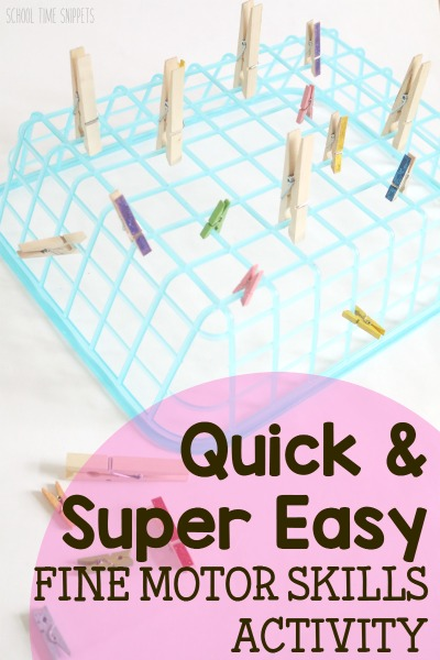 Quick And Easy Fine Motor Clothespin Activity Preschool Fine Motor Activities Toddler Fine Motor Activities Motor Skills Preschool