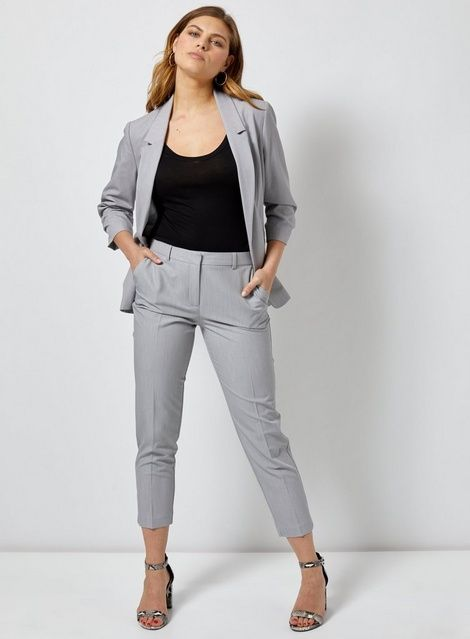 Womens Light Grey Ankle Grazer Trousers Grey Grey