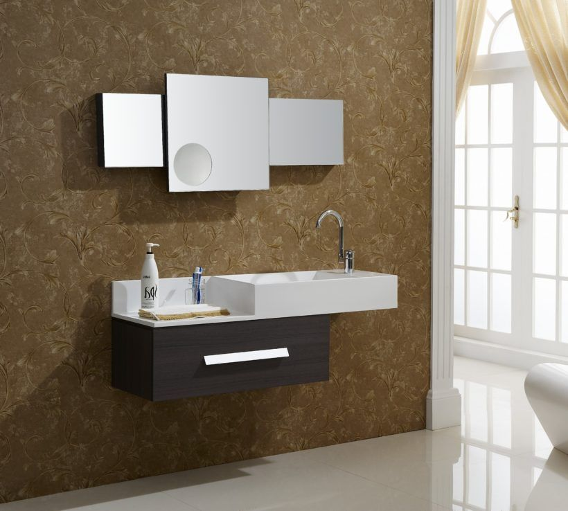 Staggered Storage Concept With Floating Wall Mounted Sink For