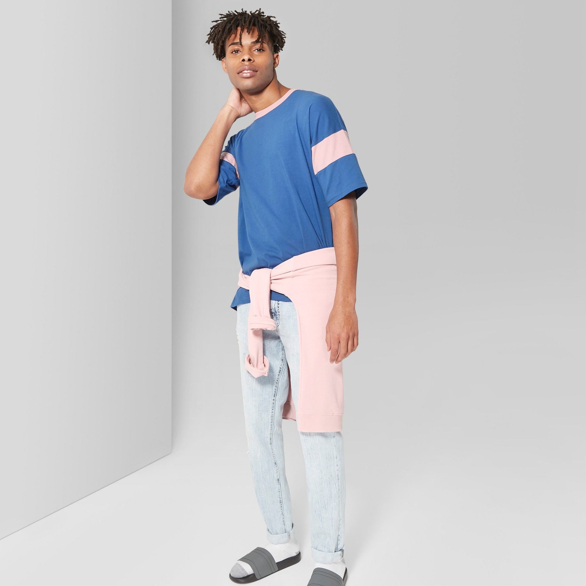 7b4be68f92e Men s Loose Fit Short Sleeve Oversize Football U-Neck T-Shirt - Original Use
