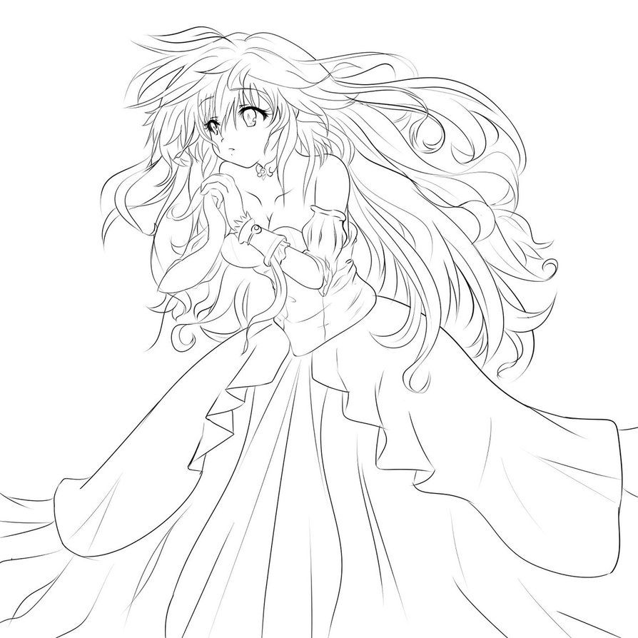 Praying Princess Lineart By Ashujou Clip Studio Paint Female Sketch Coloring Pages