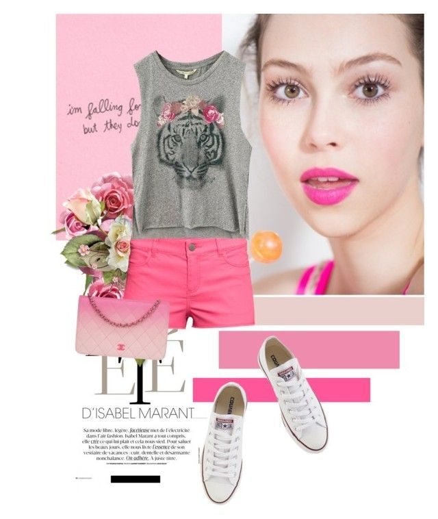 pink shorts by diamond-flower on Polyvore featuring polyvore, fashion, style, H&M, Converse and Chanel